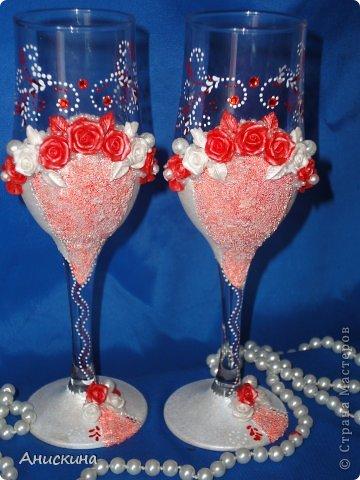 """Свадебный набор """"Люблю"""". Не могла купить белые свечи. Пришлось купить красные. Красные свечи на столе даже ярко смотрелись. Результатом довольна. Невесте понравилось. фото 6"""