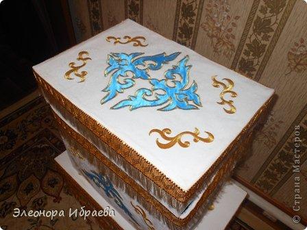 """Проводы девушки - кыз узату - важный этап казахской свадьбы. Сваты в количестве 5-7 человек (нечетное число), а то и больше приезжали за невестой. Среди них был """"бас куда"""" - главный сват и кудалар - сваты и друг жениха. Сваты обычно прибывали вечером. С этого момента начинался той с играми, песнями, танцами, дарились подарки. В этот день близике родственники девушки официально приглашали сватов в гости. Девушку по обычаю свадьбы у казахов отправляли вместе со сватами рано утром, с восходом солнца.  Жених, приезжая за невестой, согласно традиции свадьбы у казахов, приводил той малы, то есть скот для свадьбы: лошадей, коров или баранов. Скот резали для пира на этой свадьбе. Также привозили дорогие ткани, вещи, фрукты, сахар, чай. Вот и здесь идея, куда положить этих подарков. Со временем все меняется. Наши предки их ложили в коржын. Брат подруги собирается сватовать невесту по каз.традиции. И заказали мне сделать коржын как всегда необычным))))). И я придумала вот такой вариант.  фото 4"""