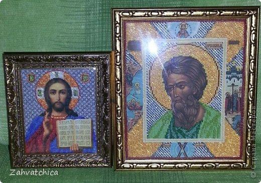 Икона Спасителя вышита ювелирным бисером а икона Андрея Первозванного обычным.  фото 1