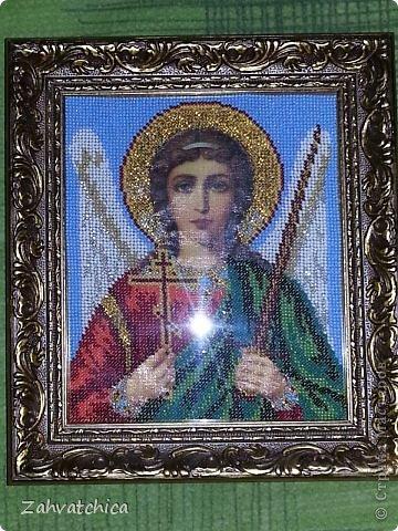 Икона Спасителя вышита ювелирным бисером а икона Андрея Первозванного обычным.  фото 2