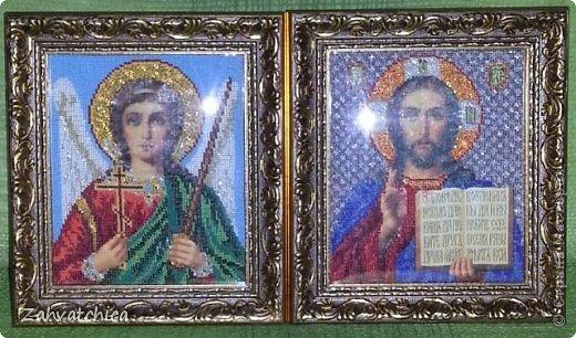 Икона Спасителя вышита ювелирным бисером а икона Андрея Первозванного обычным.  фото 3