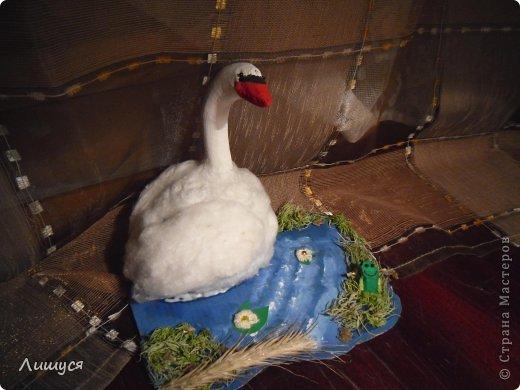 это я сделала на даче. лебедь. шея - покрашенная веточка. тело - флористическая губка (зелёная такая) фото 1