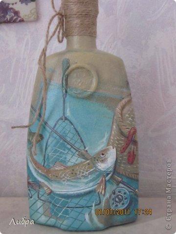 Бутылочка на юбилей охотнику и рыбаку. Признаюсь сразу - повторюшка идею взяла у пользователя Бухгалтер Елена. фото 1