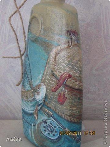 Бутылочка на юбилей охотнику и рыбаку. Признаюсь сразу - повторюшка идею взяла у пользователя Бухгалтер Елена. фото 4