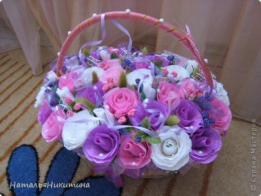 Вот такую корзину цветов с конфетками я приготовила в подарок маме на день рождения. Это моя первая большая работа в этой технике. Очень надеюсь, что у меня получилось и ей понравится... Использовала 4 цвета бумаги, органзу, сетку. фото 2