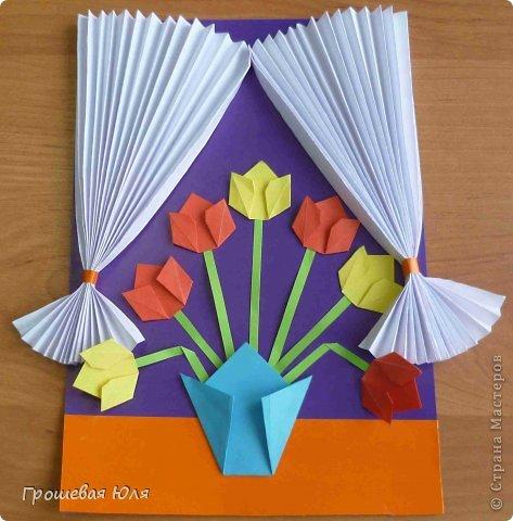 Как из бумаги сделать открытку на 8 марта своими руками