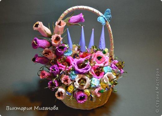 Доброго времени суток! :) Новая сладкая корзиночка на заказ,надеюсь понравится и Вам дорогие мастерицы! фото 1