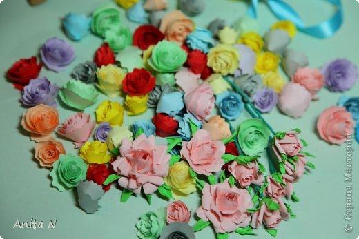 """Ну конечно же не розовый в смысле цвета, а розовый в смысле цветов :)))) а началось всё ооочень просто... с неумения и желания научиться..  в итоге самые простые в исполнении оказались спиральные розы, причём попробовала делать такие цвета как серо-коричневый... синий и бирюзовый... эти открытки как следствие попытки применить цветы необычного цвета. Начала со """"шкатулки"""" почему в кавычках, не знаю как назвать коробчёнку :) сотворилась, живёт на полке, наверное детям в итоге достанется.. крышка в виде шляпки, неровно я к шляпкам дышу :) давно собиралась, а тут такой случай замечательный :) :) :) с открытками совпадение только по цветовой гамме, не комплект вовсе, и из разных материалов.. и вообще.. :) фото 12"""