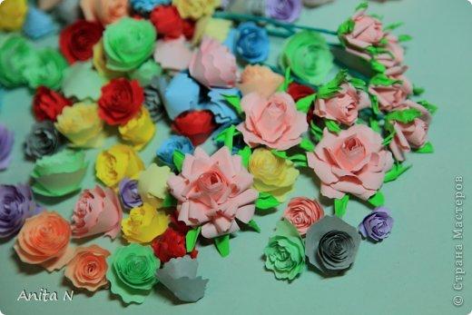 """Ну конечно же не розовый в смысле цвета, а розовый в смысле цветов :)))) а началось всё ооочень просто... с неумения и желания научиться..  в итоге самые простые в исполнении оказались спиральные розы, причём попробовала делать такие цвета как серо-коричневый... синий и бирюзовый... эти открытки как следствие попытки применить цветы необычного цвета. Начала со """"шкатулки"""" почему в кавычках, не знаю как назвать коробчёнку :) сотворилась, живёт на полке, наверное детям в итоге достанется.. крышка в виде шляпки, неровно я к шляпкам дышу :) давно собиралась, а тут такой случай замечательный :) :) :) с открытками совпадение только по цветовой гамме, не комплект вовсе, и из разных материалов.. и вообще.. :) фото 13"""