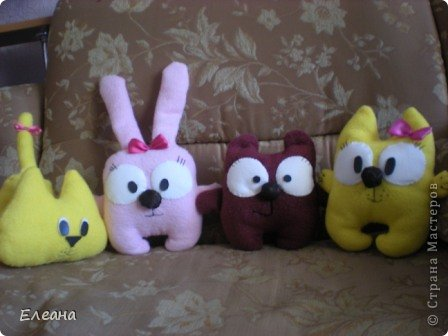 Здравствуйте все, кто зашел на мою страничку! Вот на такие замечательные мягкие игрушки я вдохновилась, посетив блоги Ольги Романовой и Дашули Гущиной! А главное, эти пухляшки очень понравились моим детям! фото 1