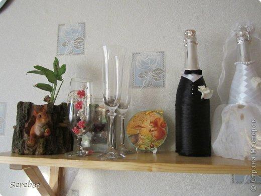 У моей сестренки была  свадьба 6 октября. Впервые занялась свадебными аксессуарами.   Такие бутылочки делаю уже не в первый раз. Оч они всем нравятся.  фото 2