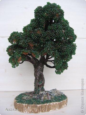 """Делала это дерево по книге """"Природа и бисер"""", результатом довольна но он далек от оригинала. Крутила из крупного бисера №6 , крутила очень долго.  фото 1"""
