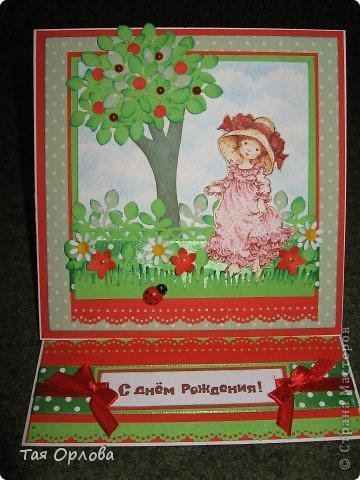 Приветик всем!Сегодня я с открыткой для девочки,которой на днях исполнится 6 лет.Первый раз сделала открытку такой конструкции.Видела много таких открыток в СМ.Трудоемкий процесс-больше поверхностей для оформления,но оно того стоит. фото 1