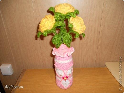 Розы и вазочки крючком фото 3
