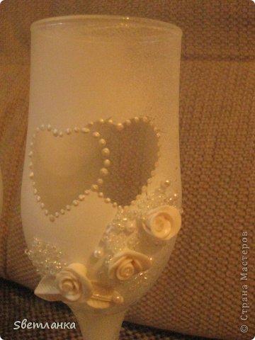 Мои первые бокалы. и так уже получилось что они на мою свадьбу.  Прошу оценить фото 3