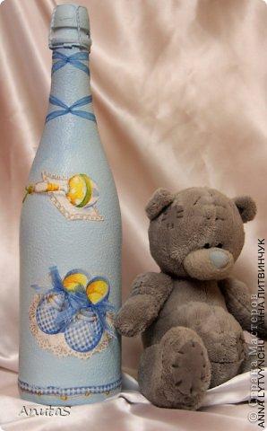 Бутылочка для мальчика. Одну похожую подарила куме на рождение сыночка) фото 1