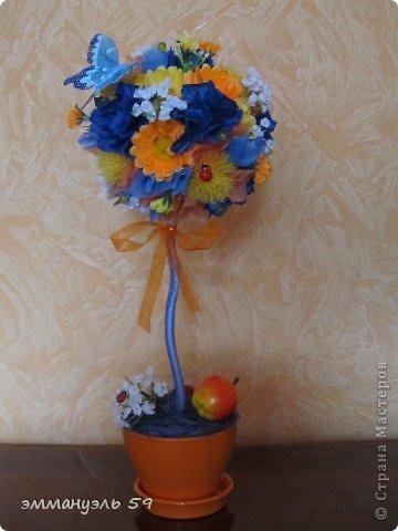 Дерево из цветов своими руками фото