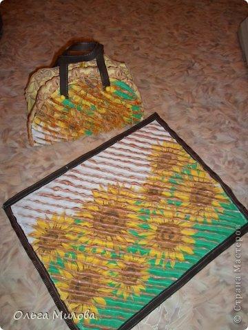 Декоративная сумочка и салфетка в технике синель... фото 4