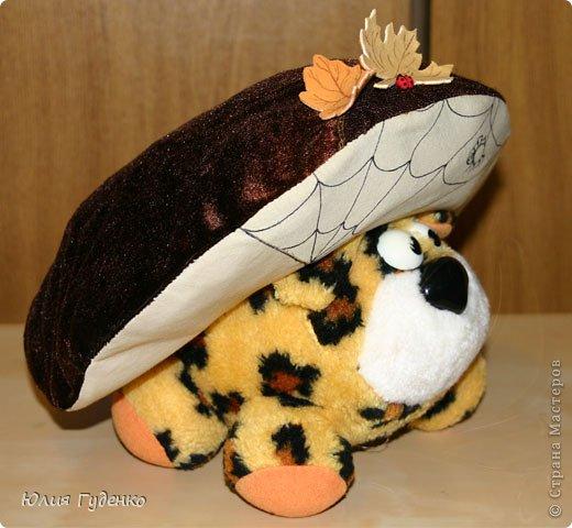 Здравствуйте! В детском саду попросили сшить для утренника шляпку гриба. Вот шляпа и готова, но пока её обладатель спит, примерим на леопарда, который любезно согласился побыть моделью. фото 19