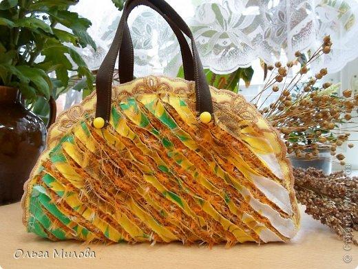 Декоративная сумочка и салфетка в технике синель... фото 1