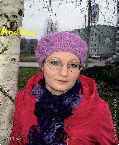"""Благодаря Голубке и ее МК https://stranamasterov.ru/node/93246?c=favorite, у меня теперь есть парочка беретиков. Вязать их было совсем несложно.  Шарф - из ленточной пряжи """"Дантелла"""". фото 2"""