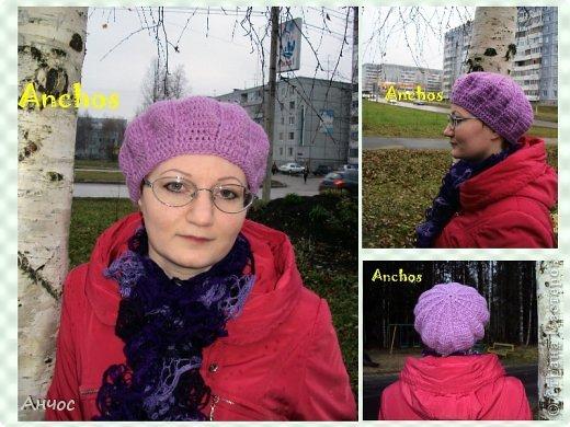 """Благодаря Голубке и ее МК https://stranamasterov.ru/node/93246?c=favorite, у меня теперь есть парочка беретиков. Вязать их было совсем несложно.  Шарф - из ленточной пряжи """"Дантелла"""". фото 1"""