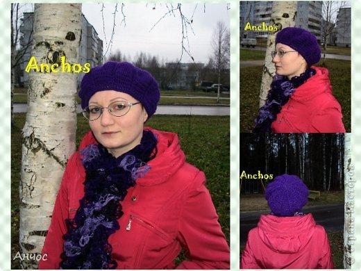 """Благодаря Голубке и ее МК https://stranamasterov.ru/node/93246?c=favorite, у меня теперь есть парочка беретиков. Вязать их было совсем несложно.  Шарф - из ленточной пряжи """"Дантелла"""". фото 5"""