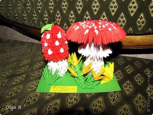 Поделка изделие Праздник осени Оригами китайское модульное Грибы на полянке Бумага фото 1.