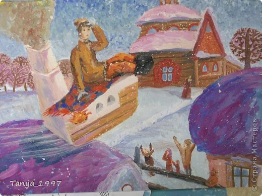 Картина панно рисунок Сказка Рисование и живопись Емеля и щука Гуашь