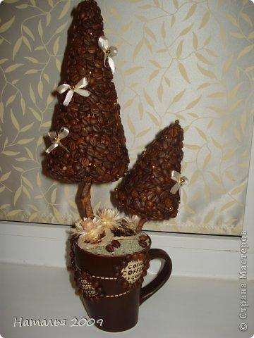 Вот такой у меня получился кофейный топиарий!Это первая работа с кофейными зёрнами. фото 1