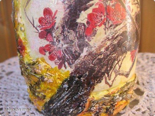 Всем привет!!!!! Облетели листья с деревьев,  прошел первый снежок, хочется что-то оставить на память о золотой осени, так родилась эта вазочка из стеклянной бутылки. фото 8