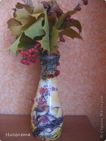 Всем привет!!!!! Облетели листья с деревьев,  прошел первый снежок, хочется что-то оставить на память о золотой осени, так родилась эта вазочка из стеклянной бутылки. фото 10