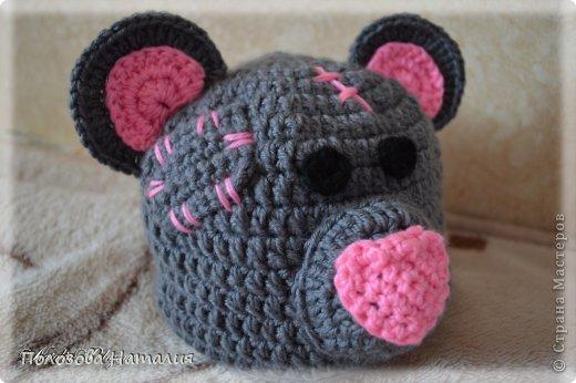 крючком Шапка мишка -тедди