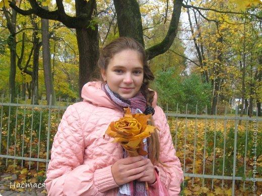 Розочка из кленовых листьев (экспромт) фото 2