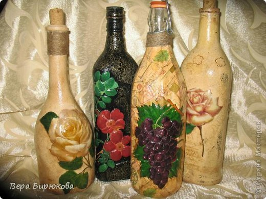 Объемный декупаж бутылки своими руками