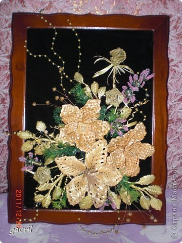 Картина панно рисунок Бисероплетение Плетение Картина в подарок Бисер Соломка.