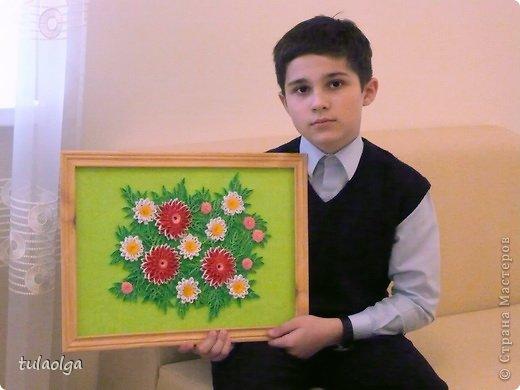 Картина панно рисунок День матери Квиллинг Цветы Бумажные полосы фото 4.