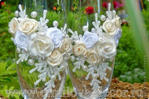 Декор предметов Мастер-класс Свадьба Свадебные бокалы своими руками Ткань