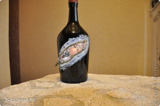 Декор предметов Аппликация МК - Бутылочка секрет - ракушки Бутылки стеклянные Клей Ракушки Салфетки фото 1