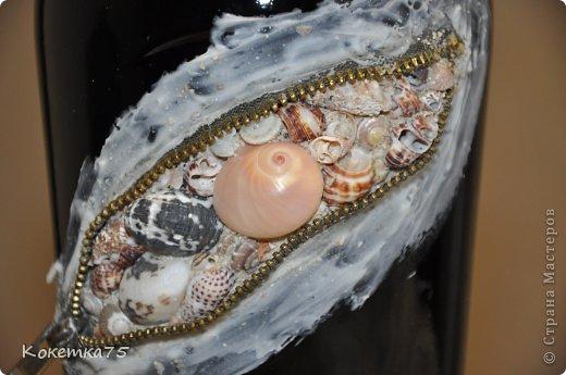 Декор предметов Аппликация МК - Бутылочка секрет - ракушки Бутылки стеклянные Клей Ракушки Салфетки фото 2