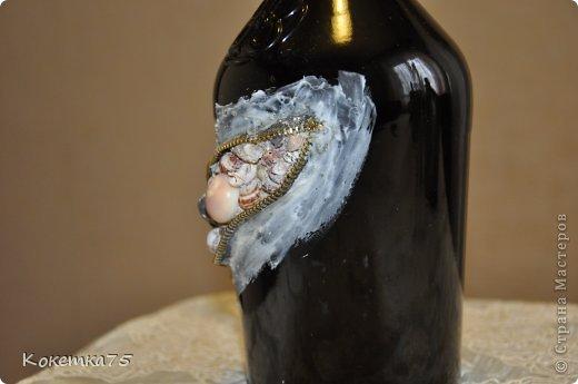 Декор предметов Аппликация МК - Бутылочка секрет - ракушки Бутылки стеклянные Клей Ракушки Салфетки фото 3