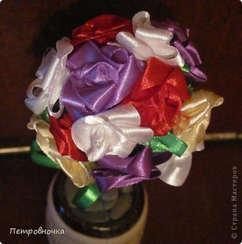 Эти топиарии я сделала сегодня вечером. Теперь повторила цветы из цветной ксероксной бумаги. фото 5