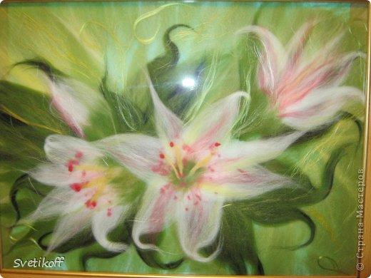 Вот такая получилась моя первая шерстяная картина. Цвета немного искажены. На самом деле она ярче. фото 4