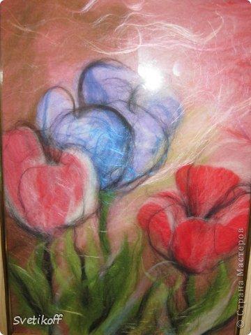 Вот такая получилась моя первая шерстяная картина. Цвета немного искажены. На самом деле она ярче. фото 7