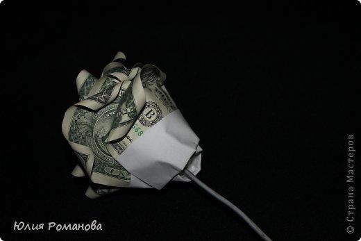 Здравствуйте. Вот такую розочку покажу как делала я. В интернете показан способ немного другой, крепили с помощью резинок для денег. Но я не стала так делать, потому что при неловком движении или натяжении купюр во сгибе может порваться....А целостность каждой денежки нам нужно сохранить во что бы то ни стало. фото 6
