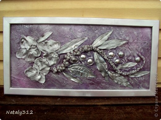 Размер 30 Х 60. Цвет лиловый + серебро (поясняю, потому как серебра вообще на фото не видно). Цветы искусственные. фото 4