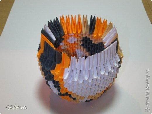 Наконец я выделила свободное время и заняла его непосредственно изготовлением этой Кисули. Это мой первый мастер-класс и я надеюсь что он будет понятен даже новичкам в искусстве модульного оригами. фото 12