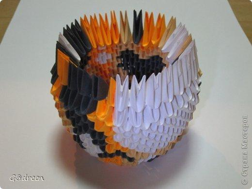 Наконец я выделила свободное время и заняла его непосредственно изготовлением этой Кисули. Это мой первый мастер-класс и я надеюсь что он будет понятен даже новичкам в искусстве модульного оригами. фото 14