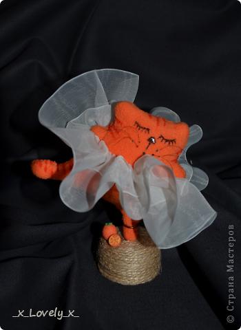 """Вдохновившись прекрасной работой прекрасного мастера https://stranamasterov.ru/node/451930, я решила тоже сшить котейку-балерину...Но, она получилась такая пухленькая,что """"морковкой"""" назвать её язык не повернулся...Поэтому, она у меня - Апельсинка=) фото 1"""