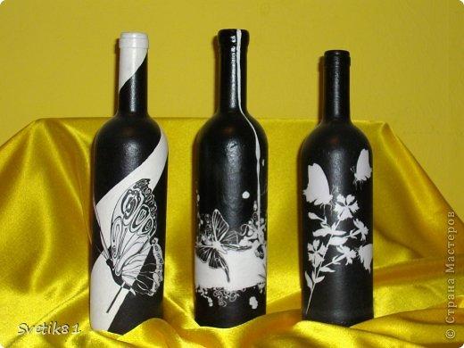 Чёрно-белый декупаж бутылок